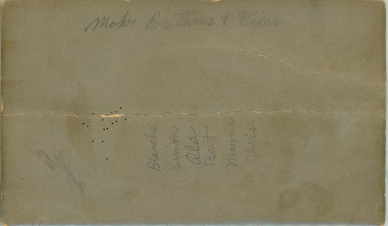 283 back of photos of Mohr brothers and wives 1910s Maurine Holt.jpg