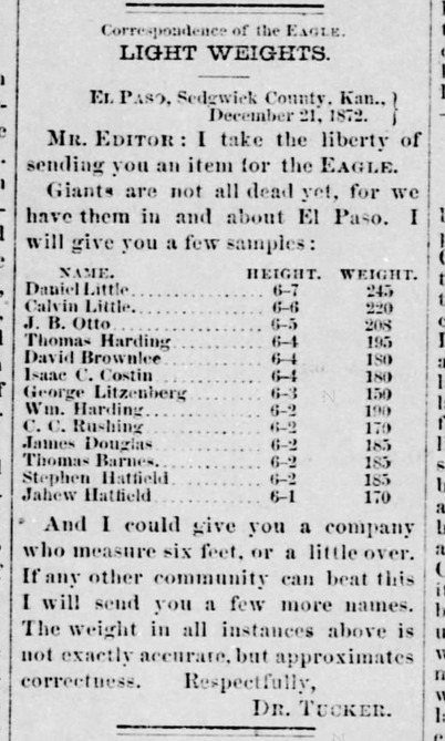 Wichita Weekly Eagle 1872-12-26 p2 (List of 13 men in El Paso over 6 feet tall).png