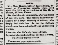 3 - Romig, Mary obituary (Wichita Eagle 1873-05-01 p3).png