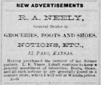 R. A. Neely, General Dealer in Groceries, Boots and Shoes, Notions, Etc.
