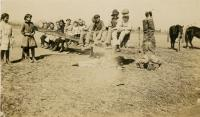 49 Kids standing around with one doing a handstand postcard 1915 Maurine Holt.jpg