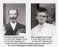 William Henry Harrison Snyder and wife Mary Elizabeth Farris Snyder